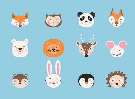 Cartoon cute animals. Hand drawn characters. Vector illustration. Stock Illustratie