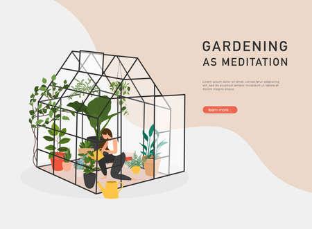 Gardening as meditation. Woman planting gardens flowers, agriculture gardener hobby and garden job inside glass greenhouse.
