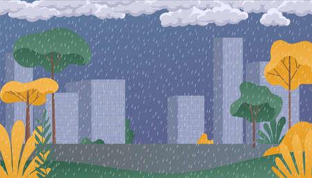 Rainy day park. Rainy season, clouds and storm, weather nature background. Flat vector illustration Stockfoto - 157765630