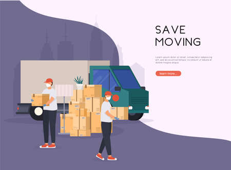 Save Moving House. Mens with cardboard boxes. Moving truck and cardboard boxes. Transport company. Stockfoto - 157765643