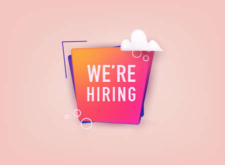 We're hiring typographic design. We are hiring communication poster, help wanted advertising banner with speaker and vacant badge. Stockfoto - 159597123