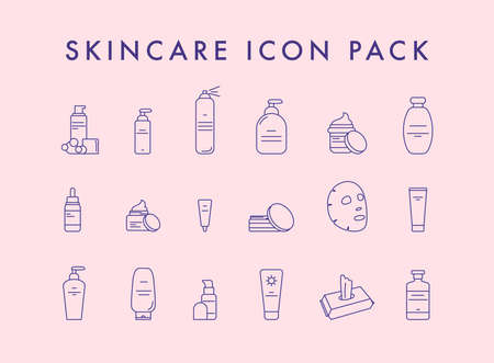 Make-up and cosmetic line icon set. Vector illustration.