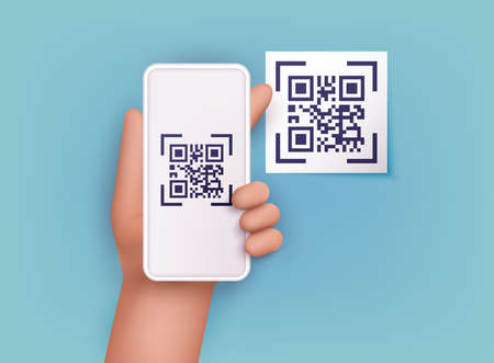 Hand holding mobile smart phone with scan QR code. Scanning qr code and online payment, money transfer. Electronic, digital technology, barcode. Vector illustration.
