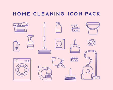 Cleaning icons. Housekeeping and Room Service, Cleaning Service. Flat design style. Stockfoto - 158359732