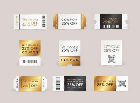 Discount coupon. Promo code gift voucher and coupons template. Stockfoto - 158359737