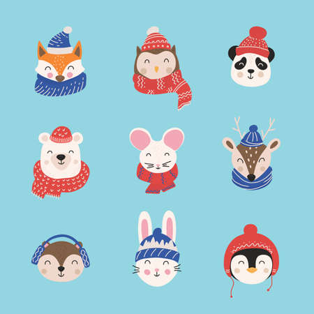 Cartoon cute animals with Christmas hats and scarfs. Merry Christmas. Hand drawn characters. Vector illustration. Stockfoto - 159119773