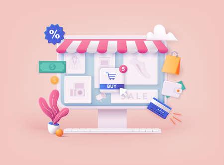 3D Web Vector Illustrations. Online shopping.Design graphic elements, signs, symbols. Mobile marketing and digital marketing.