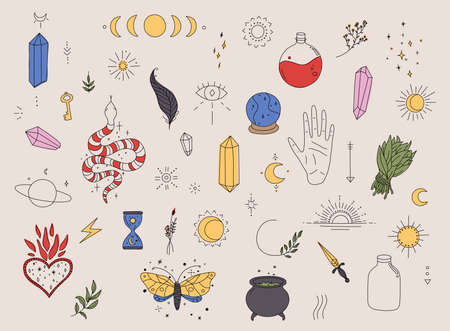Big set of witchcraft. Magic background for witches and wizards. Hand drawn elements. Stock Illustratie