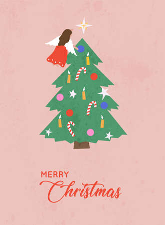 Merry Christmas and Happy New Year. Christmas tree with decorations and angel on top. Vector illustration.