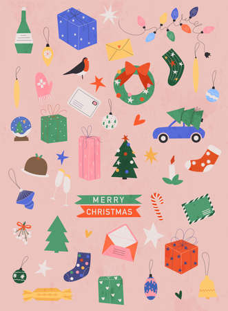 Vector collection of christmas items, elements and decorations, christmas tree, gift boxes, candle, mistletoe, wreath. Flat design modern vector illustration concept. Stockfoto - 159597128