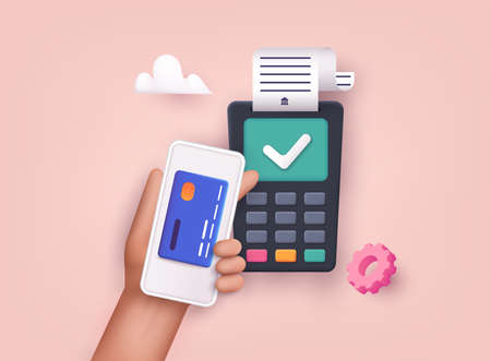 3D Web Vector Illustrations. Contactless payment. Near field communication payment terminal concept. Online transactions, paypass and NFC. Stockfoto - 159597131