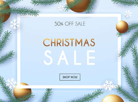 Christmas sale poster template with Christmas ornaments, snowflakes and fir branches.