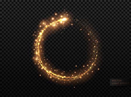 Transparent Golden Glow light effect. Copper lights effects. Sparkle and glitter. Vector illustration. Stock Illustratie
