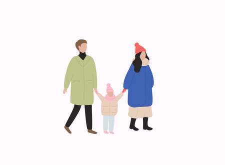 Family with kid in warm clothes flat vector illustrations. Winter season outdoor. Stockfoto - 159991105