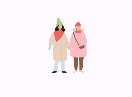 Couple girls in warm clothes flat vector illustrations. Winter season outdoor date. 向量圖像