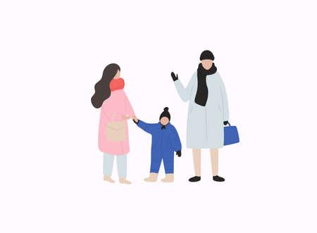 Family with kid in warm clothes flat vector illustrations. Winter season outdoor.