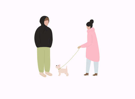 Couple with dog in warm clothes flat vector illustrations. Winter season outdoor date.