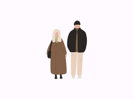 Couple in warm clothes flat vector illustrations. Winter season outdoor date.