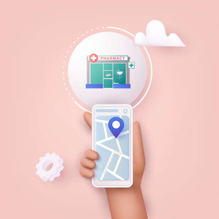 3D Web Vector Illustrations. Hand holding mobile smart phone with application search pharmacy. Find closest on city map.
