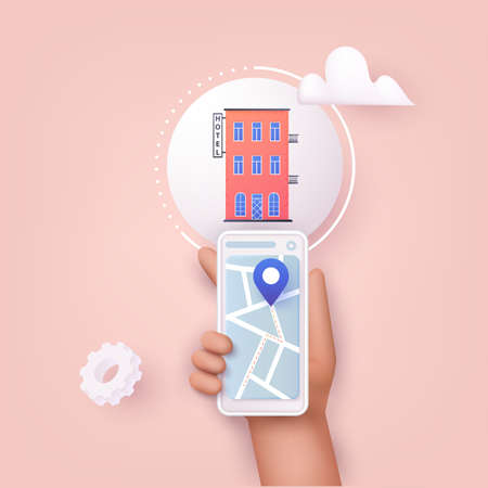 3D Web Vector Illustrations. Hand holding mobile smart phone with application search hotel. Find hotel on city map.