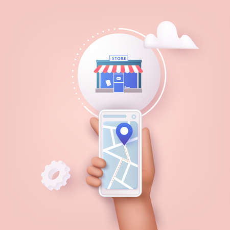 3D Web Vector Illustrations. Hand holding mobile smart phone with application search store. Find closest on city map. Stock Illustratie