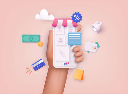 3D Web Vector Illustrations. Hand holding mobile smart phone with shopp app. Online shopping concept.