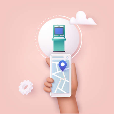 3D Web Vector Illustrations. Hand holding mobile smart phone with mobile app atm search. Stock Illustratie