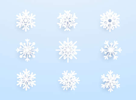 Snowflakes with shadow on blue background. Vector set of white Christmas paper cut 3d snowflakes. Stock Illustratie