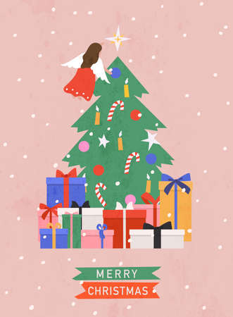 Merry Christmas and Happy New Year. Christmas tree with decorations and angel on top. Gift boxes and presents. Vector illustration. Stockfoto - 159991115