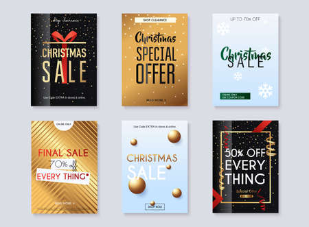 Set of christmas sale banners design, discounts and special offer. Shopping background, label for business promotion. Vector illustration.