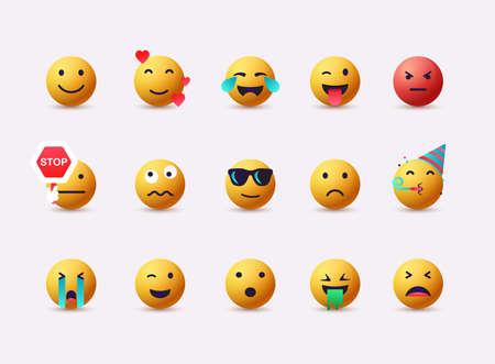 Set of Emoticons. Emoji flat design, avatar. 3D Web Vector Illustrations.