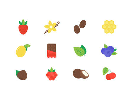 Vector set of different flavor icons design template.