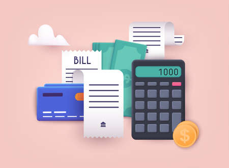 Pay bills and tax. Bills, credit cards and calculator. Home finance and taxes. Payments concept. 3D Web Vector Illustrations. Ilustração