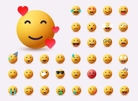 Set of Emoticons. Emoji flat design, avatar. 3D Web Vector Illustrations. Ilustração