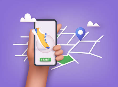 Hand holding mobile smart phone app with track displayed with route. Vector fitness route tracking concept illustration. 3D Vector Illustrations. Ilustração