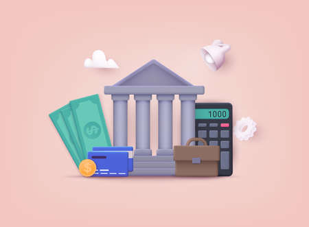 Banking, purchasing and transaction, electronic funds transfers and bank wire transfer. 3D Vector Illustrations.