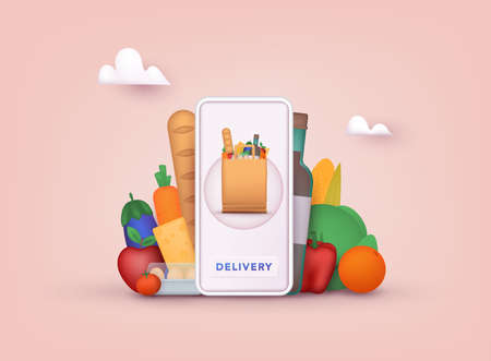 Online grocery shopping. Delivery service. Online ordering of food, grocery delivery, e-commerce. 3D Vector Illustrations. Ilustração
