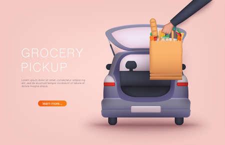 Order groceries online. Pick up point in food supermarket. Safe shopping. 3D Vector Illustrations.