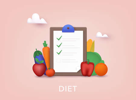 Healthy food and Diet planning. Plan your meal infographic with dish and cutlery. 3D Vector Illustrations. Ilustração