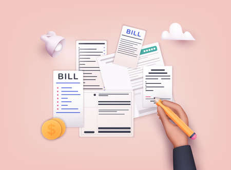 Hand signature bills with pencil. Payment of utility, bank, restaurant and other. 3D Web Vector Illustrations. Ilustração