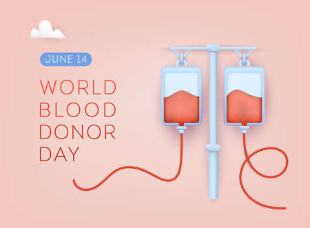 World Blood Donor Day. 3D Web Vector Illustrations.