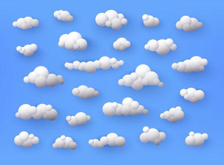 Different shape 3d white clouds on blue background. Vector decoration element. Ilustração
