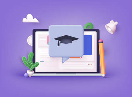 Online education on website. Application learning. Computer with open pages. 3D Vector Illustrations.