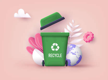 Recycle for save the earth and keep environment plastic. Can be use for template. 3D Vector Illustrations.