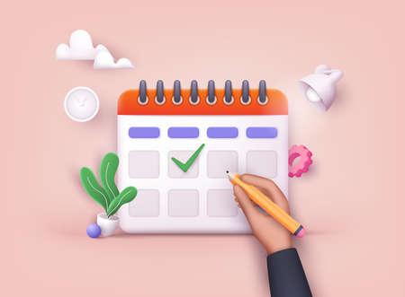 Hand putting check marks on calendar. 3D Web Vector Illustrations.
