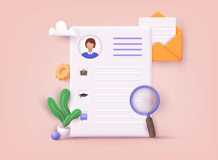 Resume. Human resource management and hiring concept. Job interview, recruitment agency. 3D Vector Illustrations. Ilustração
