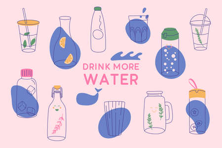 Drink more water banner. Water in a thermo and plastic mug, glass bottle.