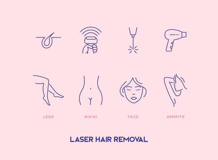 Set of hair removal cosmetology procedure icons. Laser hair removal, depilation. Ilustração