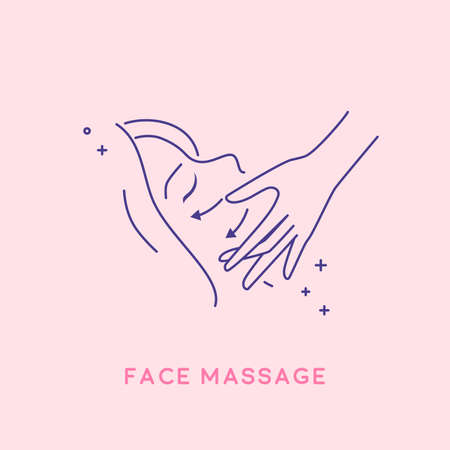 Facial massage icon. Cosmetology concept. Cosmetology concept.