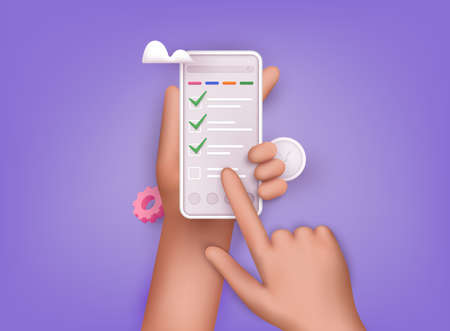 Hand holding mobile smart phone with checklist app. Successful completion of business tasks. 3D Web Vector Illustrations.